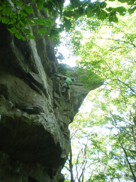 Rock Climbing Photo: The victory lap on the upper dihedral.