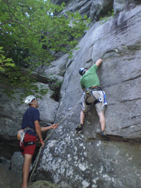 Me at the start of the thin crack with Eric at belay.