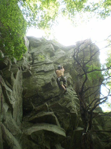 Rock Climbing Photo: The funky upper dihedral.