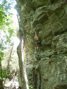 Rock Climbing Photo: Getting into the steepness above the first bolt.  ...