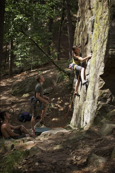 Melissa G. moves through the low crux of Tower Route.