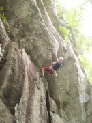 Rock Climbing Photo: Eric clipping bolts in the steep section on Ron Ri...