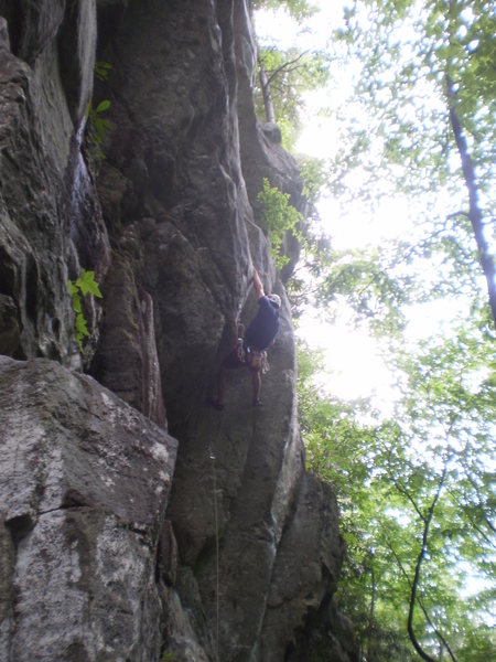 Rock Climbing Photo: Eric getting funky in the sustained section of Ron...
