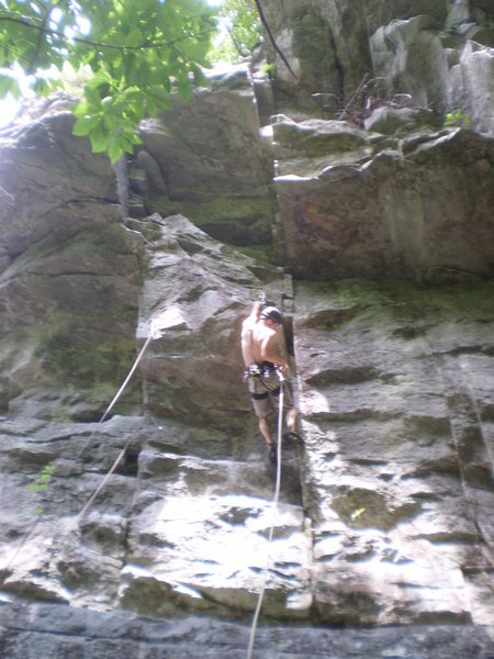 Rock Climbing Photo: Making the second clip when things get pumpy.