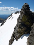 Rock Climbing Photo: Looking back at a gendarme on the ridge and the su...