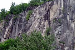 Rock Climbing Photo: 2 climbers (left) on what seems to be the ledge wh...