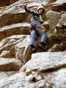 Rock Climbing Photo: Roger leading Broken Sling, Gunks 1973