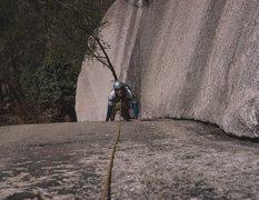 Rock Climbing Photo: Doug on the Great Arch, Stone Mtn, NC 1974