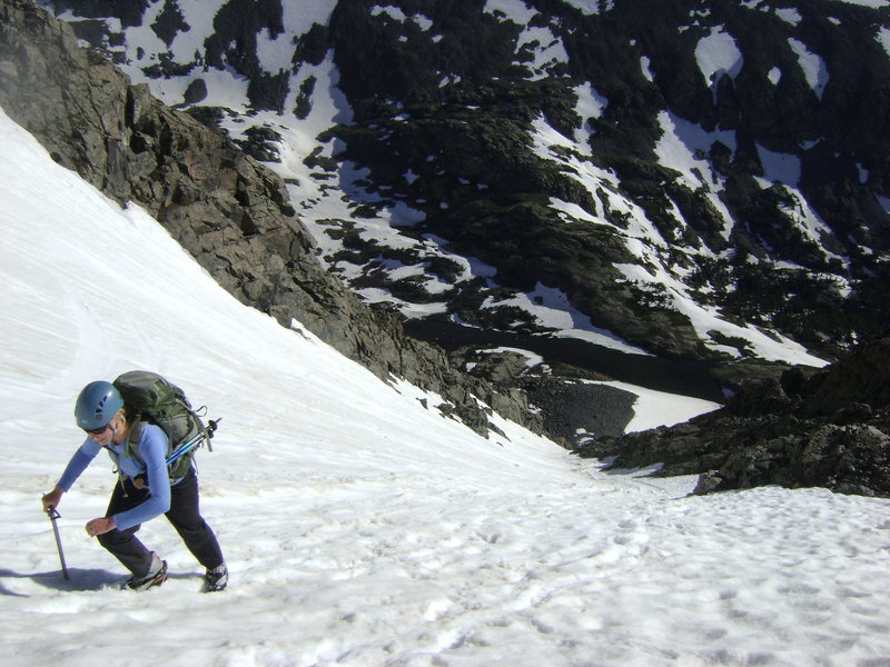 Finding superb conditions on the North Couloir of Quandary.  June 28, 2011.