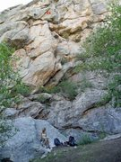 Rock Climbing Photo: Brenda and Tobey on the slab beneath Hemisphere --...