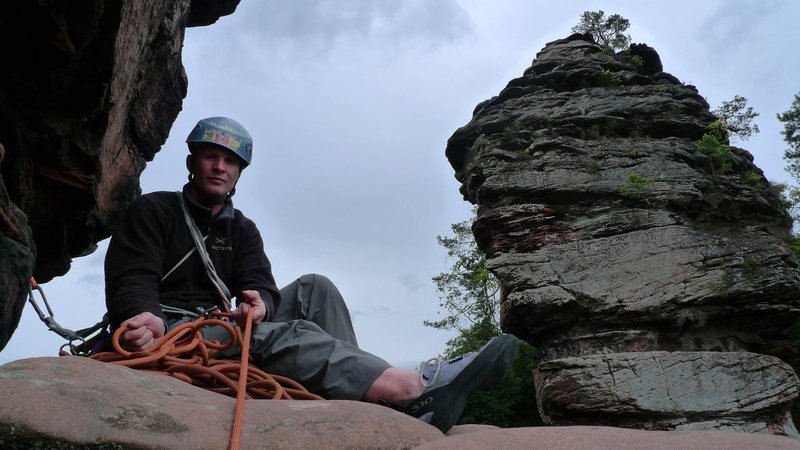 Rock Climbing Photo: Belay ledge atop the 1st pitch of Kirschnerweg. Th...