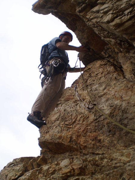 Rock Climbing Photo: An airy start up P2 to gain the face of Gollum's C...