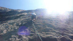 Rock Climbing Photo: Paul Casting off on P2.