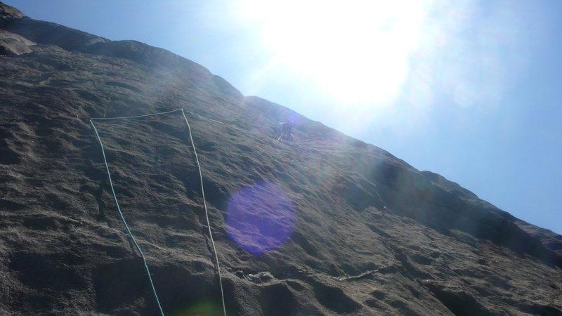 Rock Climbing Photo: Paul smooth sailing high on P2.