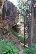 Rock Climbing Photo: View walking upstream. The route starts in the ove...