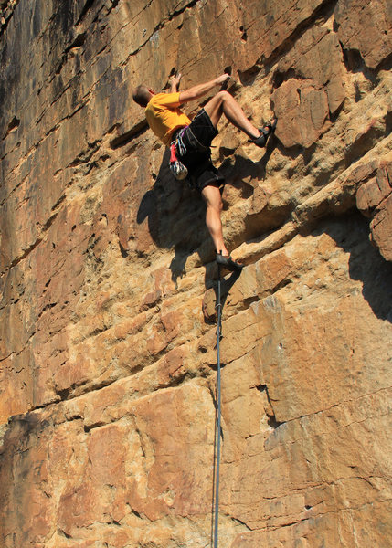"Rock Climbing Photo: ""PULLHARD"" on the big jugs & holes up hi..."
