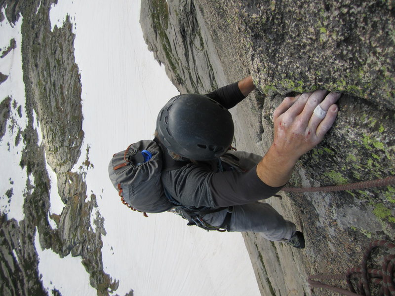 Rock Climbing Photo: Joe at the finishing hold of the crux pitch.
