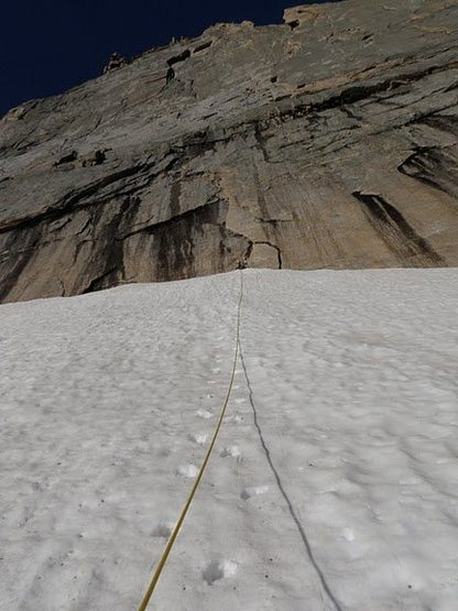 Rock Climbing Photo: The snowfield to the base of Sykes on July 2, 2011...