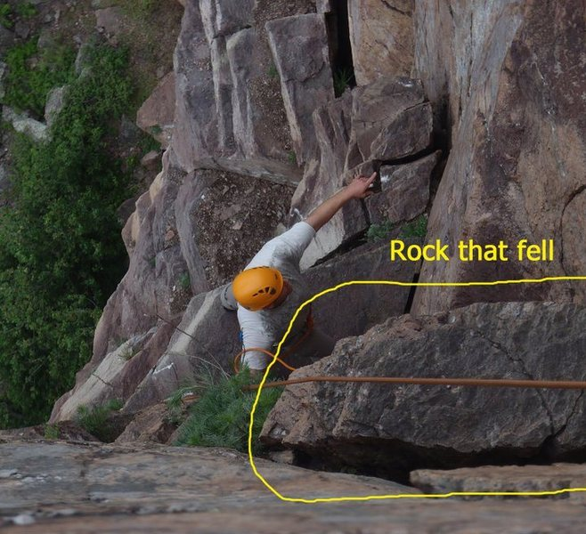 Rock Climbing Photo: Photo of the block that fell on Danger High Voltag...