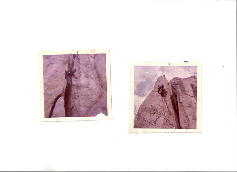 """Fa of """"hairline""""  1977  firt move out of chimney was a blind placement guided by belayer tied off blade, then a swing out and around onto it..."""