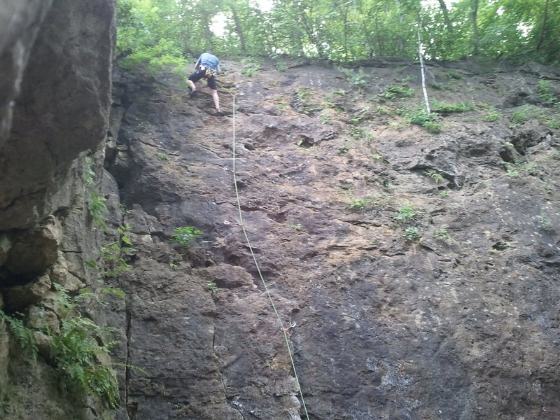 (Sorry for the phone pic).  My first crack at this route.  A bit scary.  Having a crash pad may calm nerves till the first bolt.