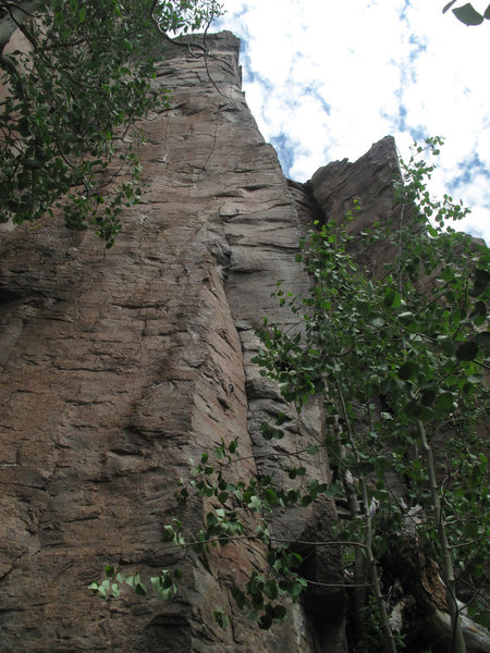 "Allelopathy Arete, with the next arete to the right being ""Opposable Thumbs Required"""
