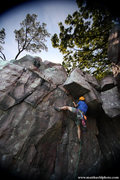 Rock Climbing Photo: Ryan Strong below the roof.  June 2011  Photo Matt...