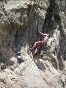 Rock Climbing Photo: Passing bolt 1, Tobin on the send.