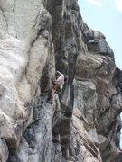 Rock Climbing Photo: Pulling the crux bulge.