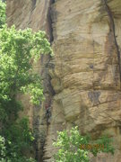 Rock Climbing Photo: Manny on Yang and Yin(5.10), in the beautiful conf...