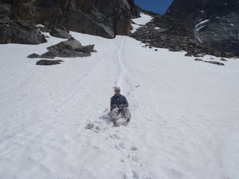 Rock Climbing Photo: Taking the fast way down the snow fields.