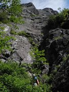 Rock Climbing Photo: View from base, Pitch 1 of The Diagonal.