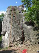 Rock Climbing Photo: Yellow is Froschkönig, Red is Westwand (Schneewit...