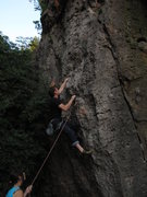 Rock Climbing Photo: Stephan trying to read The Wolf and the Seven Litt...