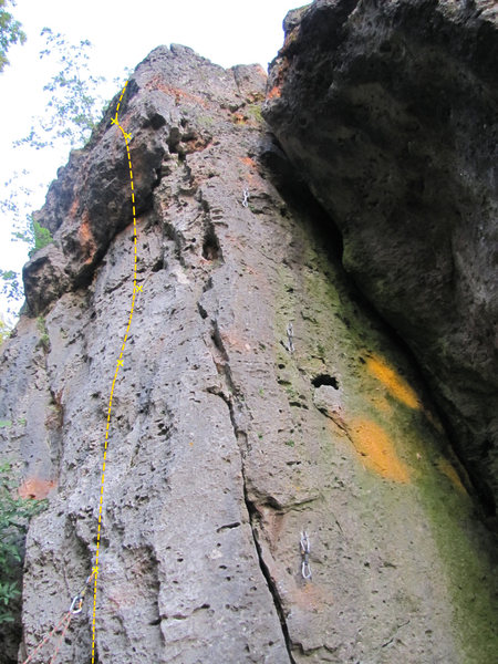 You can see how Stephan is climbing the beginning, so here's the rest of the route from the first quickdraw on.