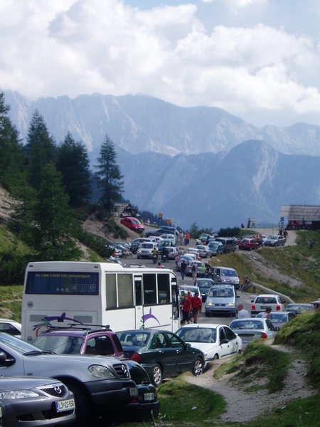 The horrors of Vršiška cesta.  Slovenia's answer to Trail Ridge Road.  A little more crowded than when Hemingway drove an ambulance here during WWI.