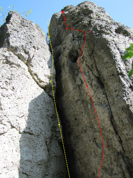 Rock Climbing Photo: The yellow route which follows the big crack is Sc...
