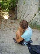 Rock Climbing Photo: Locate the start by coming up this slab...