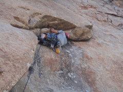 "Rock Climbing Photo:  Matt lounging on ""Undertow""."