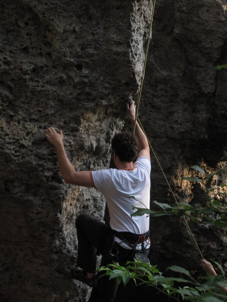 Dominik working through the alternate start which begins to the left of the route.
