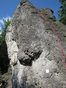 Rock Climbing Photo: Follow the yellow line through the four bolts to t...
