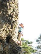 Rock Climbing Photo: Andrea about 3/4 through Tapferes Schneiderlein.