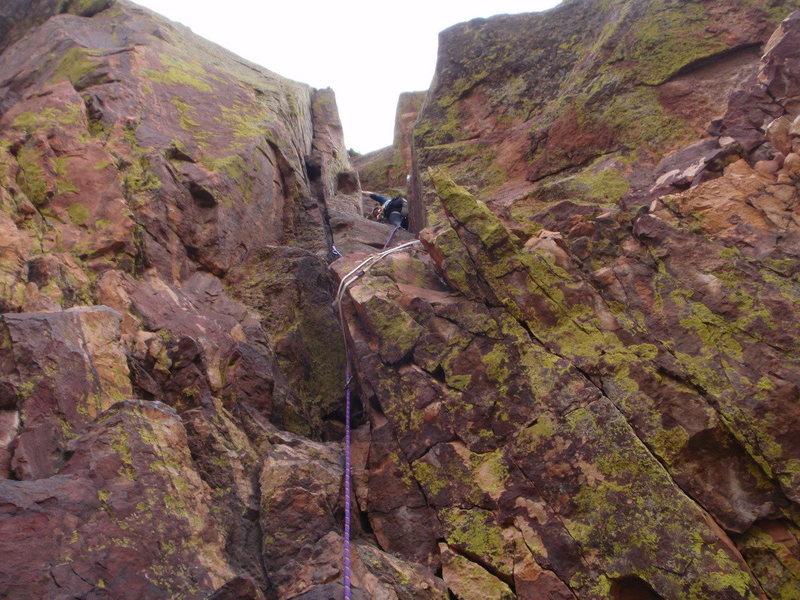 Rock Climbing Photo: Third pitch, Long John Wall
