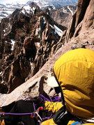 Rock Climbing Photo: Self-portrait near the summit of N. Pal; T-Bolt, A...