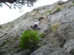 Rock Climbing Photo: The super loose first pitch.