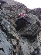 Rock Climbing Photo: Mary Tashkin getting in a bit of fun before work.