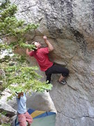 "Rock Climbing Photo: Going for the crux move on ""Green Hornet&quot..."