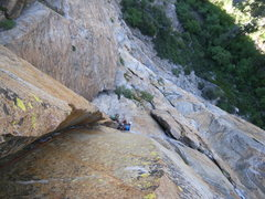 Rock Climbing Photo: The Crucifix.  Looking down on P1