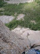 Rock Climbing Photo: Looking down pitch 5, climbing the left side of th...