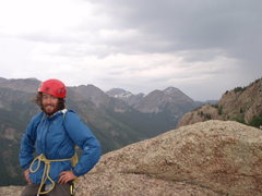 Rock Climbing Photo: Trout Man on the summit with rain and hail minutes...